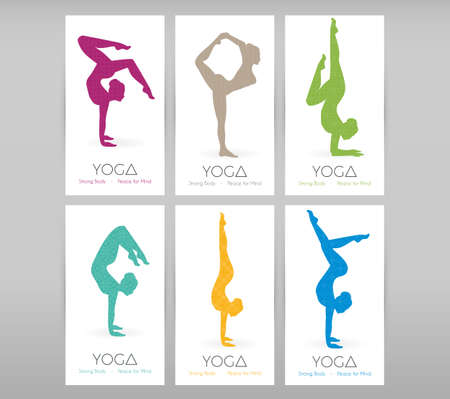 asanas: Vector illustration of Women doing yoga asanas