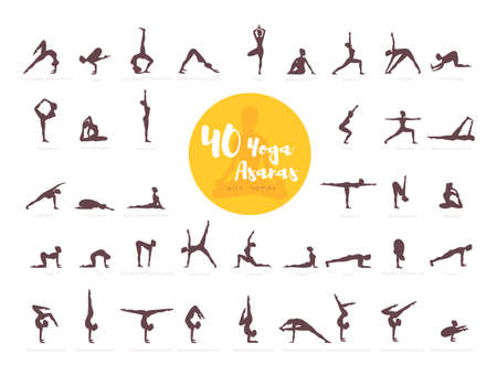 Vector illustration of 40 Yoga Asanas with names Imagens - 70962211