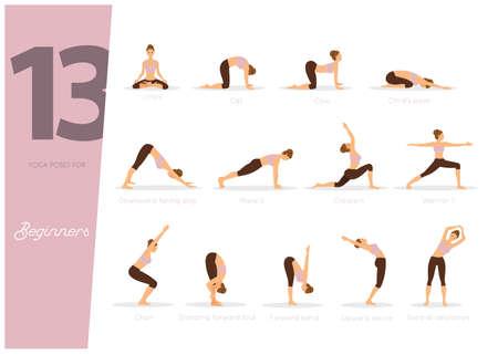 Vektor-Illustration von 13 Yoga-Posen für Anfänger