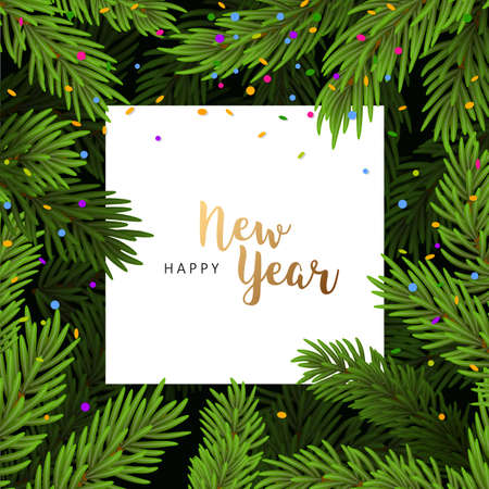 Vector illustration of Background with Christmas tree branches