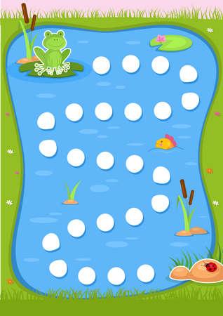 Educational printable games for the development of fine motor skills in kids. Babys finger allow along the tracks. Vector illustration Иллюстрация