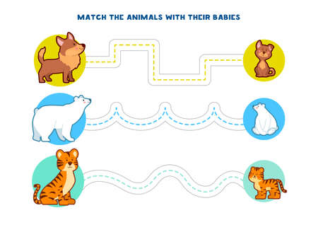 Educational printable games for the development of fine motor skills in kids. Baby's finger allow along the tracks. Vector illustration Ilustración de vector