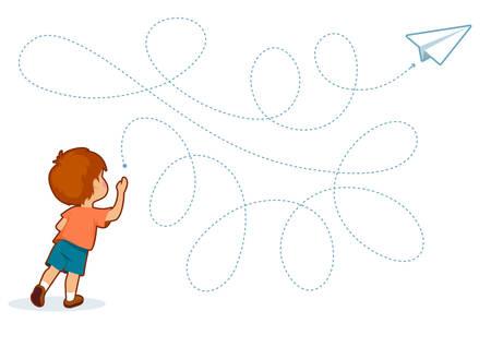 Giochi educativi stampabili per lo sviluppo delle capacità motorie nei bambini. Il dito del bambino consente lungo i binari. Illustrazione vettoriale