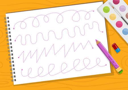 Educational printable games for the development of fine motor skills in kids. Babys finger allow along the tracks. Vector illustration Ilustracja