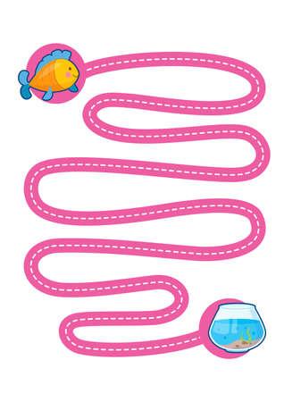 Educational printable games for the development of fine motor skills in kids. Babys finger allow along the tracks. Vector illustration Illustration