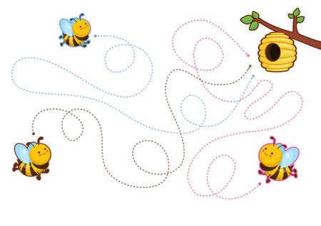 Juegos educativos imprimibles para el desarrollo de la motricidad fina en los niños. El dedo del bebé permite a lo largo de las pistas. Ilustración vectorial