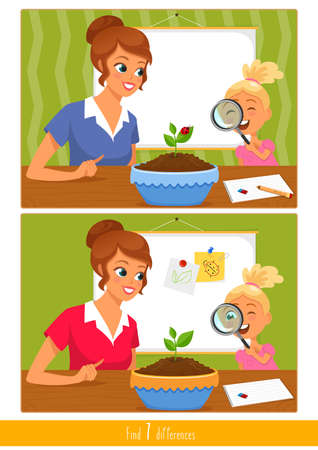 Educational children game, vector. Logic game for kids. Find 7 differences. Illustration