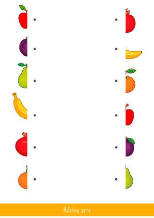 Educational children game, vector. Matching game for kids. Logic activity Illustration