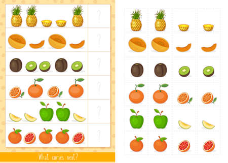 Educational children game, vector. Logic game for kids. What comes next?