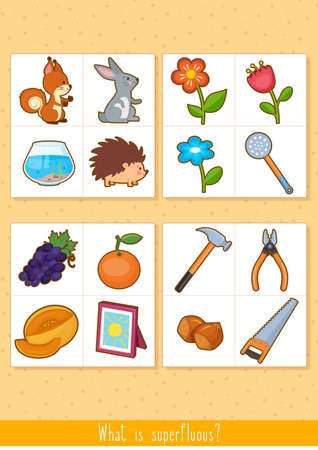 Educational children game, vector. Logic game for kids. What is superfluous?