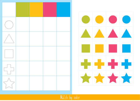 Educational children game, vector. Logic game for kids. Match by color