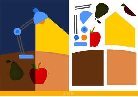 Pädagogisches Kinderspiel, Vektorillustration. Schneiden und Kleben Vektorgrafik