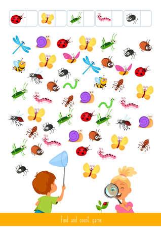 Juego educativo para niños, ilustración vectorial. Encuentra y cuenta el juego. Ilustración de vector
