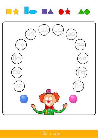 Educational children game. Color the picture by sample. Coloring book