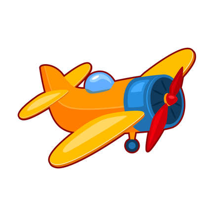Vector illustration of children colorful toy plane on white background 向量圖像