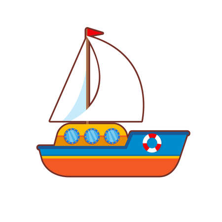 Vector illustration of children colorful toy  ship on white background