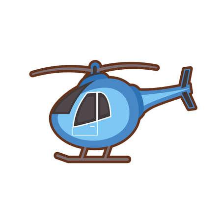 Vector illustration of children toy blue heliicopter on white background Çizim