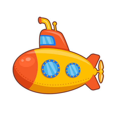 Vector illustration of children yellow toy submarine  on white background