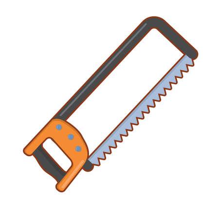 Vector illustration of cartoon metal hacksaw  on white background