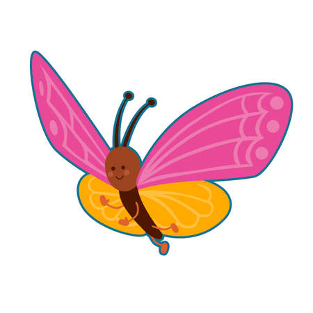 Vector illustration of colorful cute butterfly on white background
