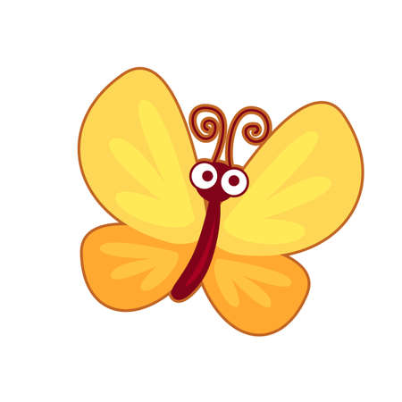 Vector illustration of cute yellow butterfly on white background