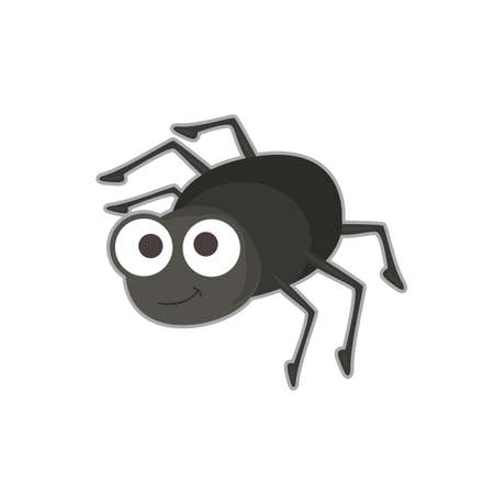 Vector illustration of cute black spider on white background