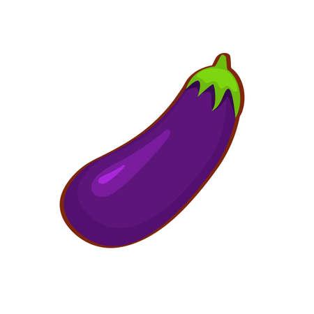Vector illustration of cartoon purple eggplant on white background