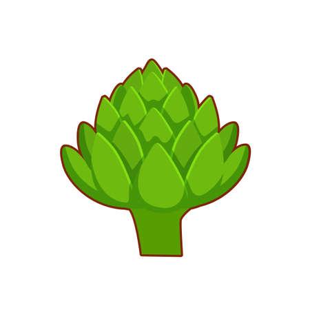 Vector illustration of cartoon green salad on white background