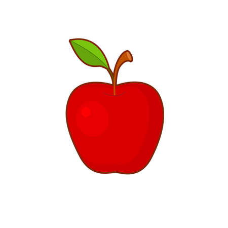 Vector illustration of cute cartoon apple fruit on white background