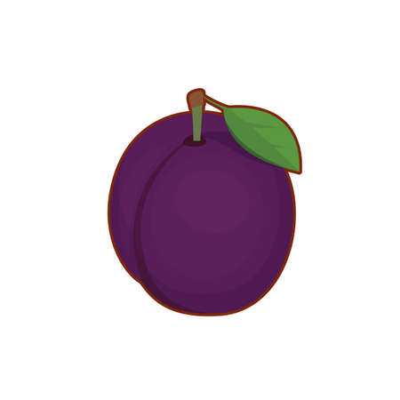 Vector illustration of cute cartoon purple plum on white background