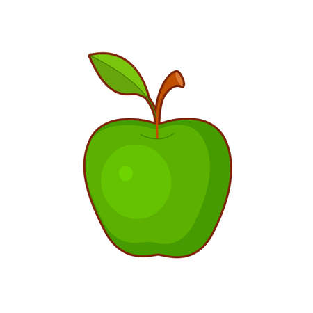 Vector illustration of cute cartoon green apple on white backgroung