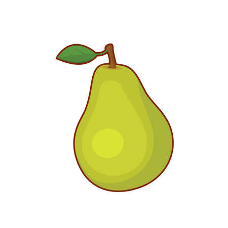 Vector illustration of cute cartoon pear fruit on white background