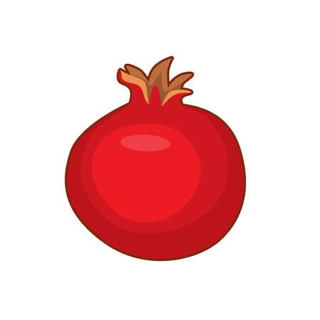 Vector illustration of cute cartoon pomegranate fruit on white background