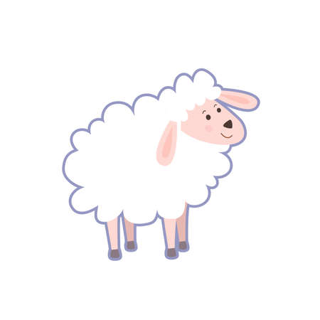 Cute portrait of farm cartoon sheep  on white background