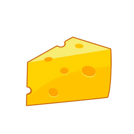 Vector illustration of cheese slice on white background 向量圖像