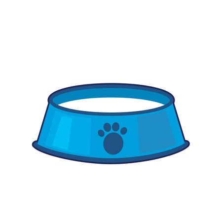 Vector illustration of blue pet bowl full of milk