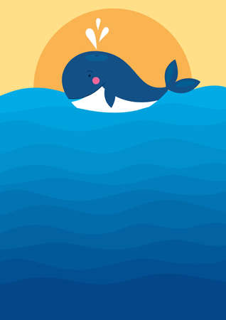 Vector illustration of big blue whale in the sunset. Sea landscape