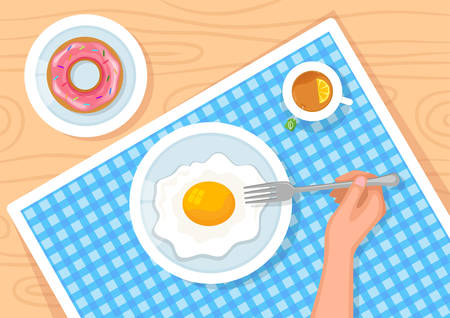 Vector illustration of served breakfast. Fried egg, tea and donut on table with blue napkin.