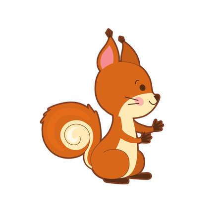 Portrait of cute cartoon squirrel on white background.