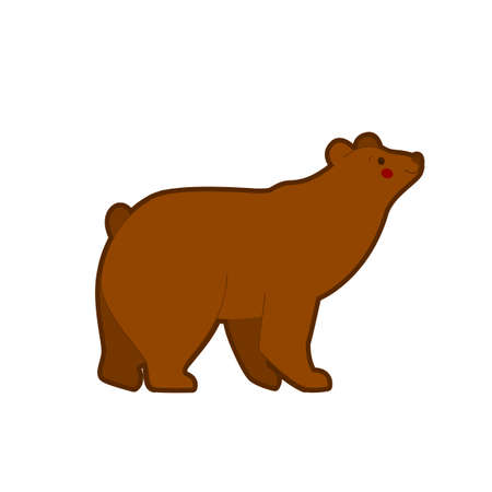 Vector illustration of cartoon brown bear  on white background.