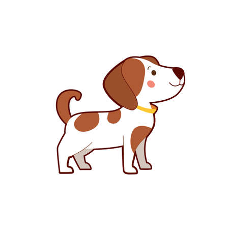 Portrait of cute cartoon brown dog on white background.