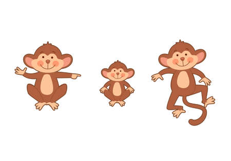 Set of funny monkey family  in different poses.