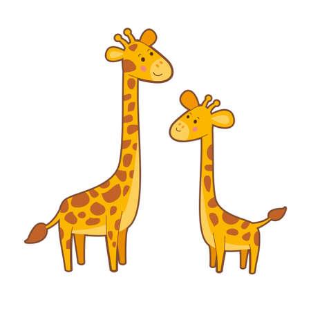 Portrait of cute cartoon giraffes on white background 向量圖像