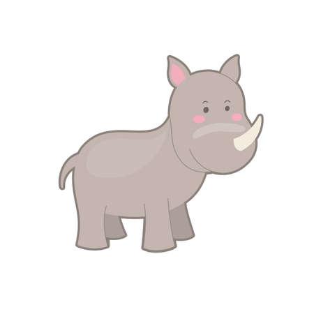 Portrait of cute cartoon rhino on white background.