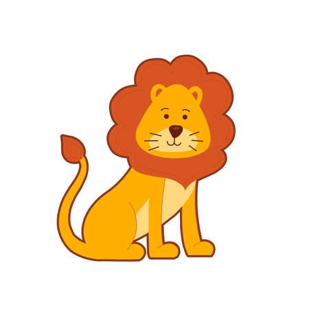 Cute portrait of funny cartoon lion on white background.