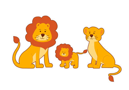 Family of lions on white background. Lion, lioness and their cub.