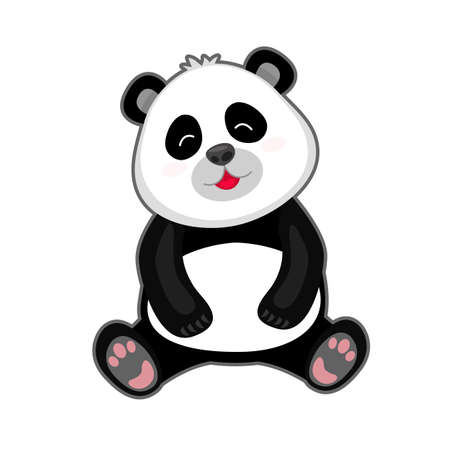 Portrait of cute panda on white background.