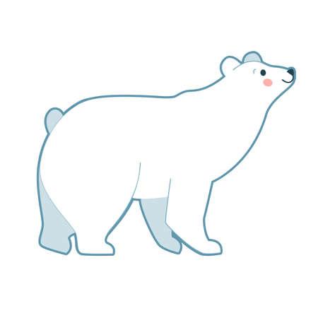 Vector illustration of cute white polar bear standing on white background