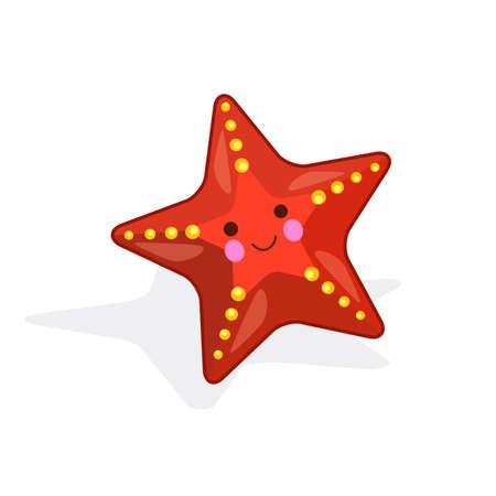 Vector illustration of sea star fish on white background 向量圖像