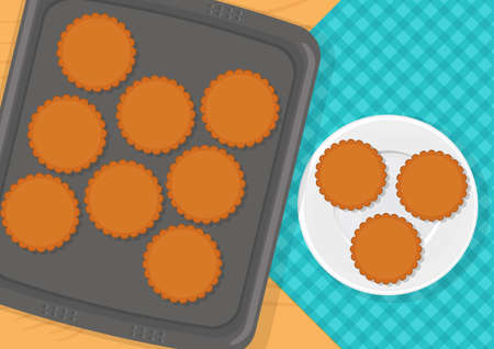 Vector illustration of sweet cookies on baking sheet and on plate 向量圖像
